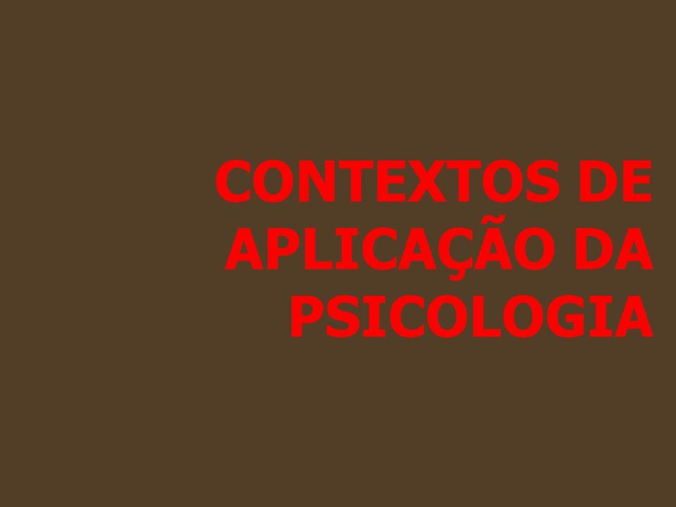 CONTEXTOS DE APLICAÇÃO DA PSICOLOGIA