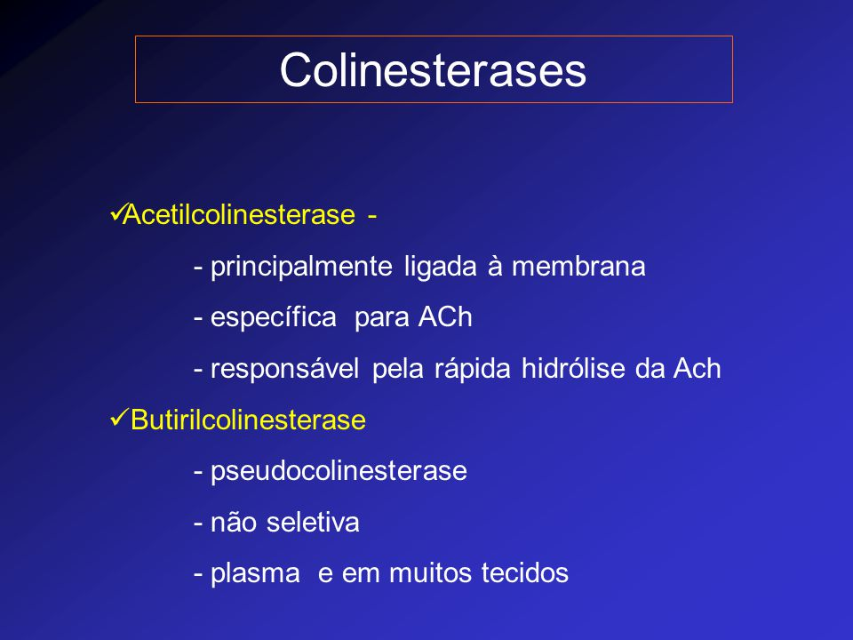 Colinesterases Acetilcolinesterase -