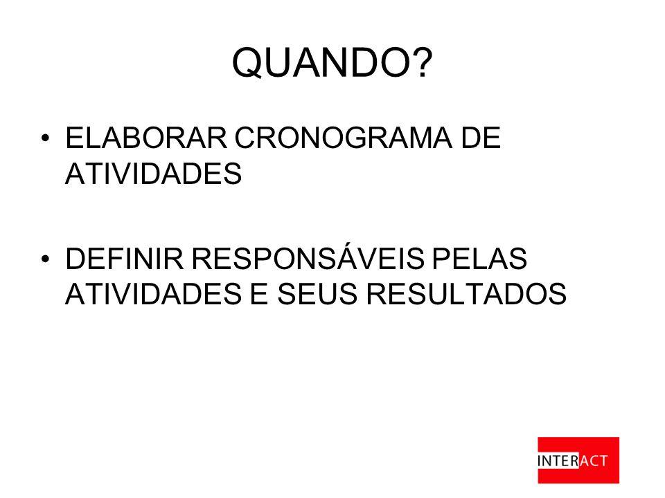 QUANDO ELABORAR CRONOGRAMA DE ATIVIDADES