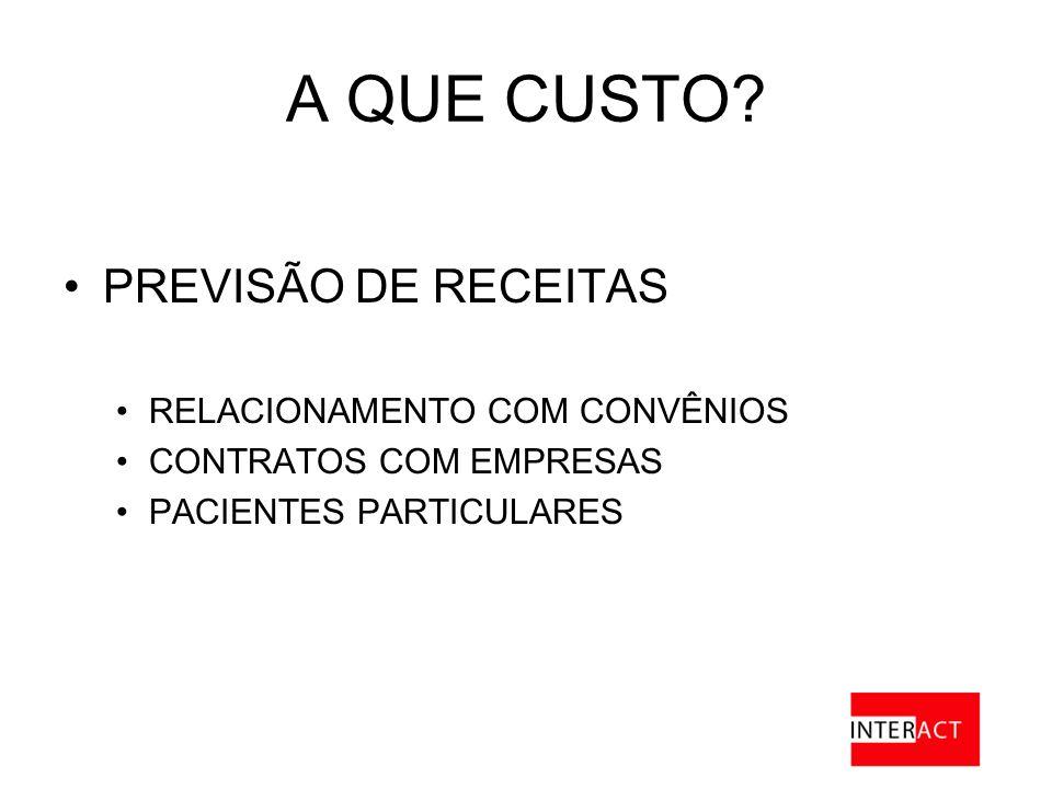 A QUE CUSTO PREVISÃO DE RECEITAS RELACIONAMENTO COM CONVÊNIOS