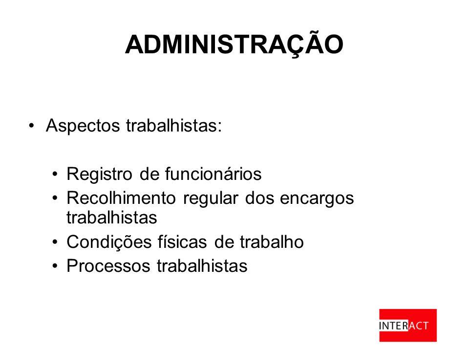ADMINISTRAÇÃO Aspectos trabalhistas: Registro de funcionários