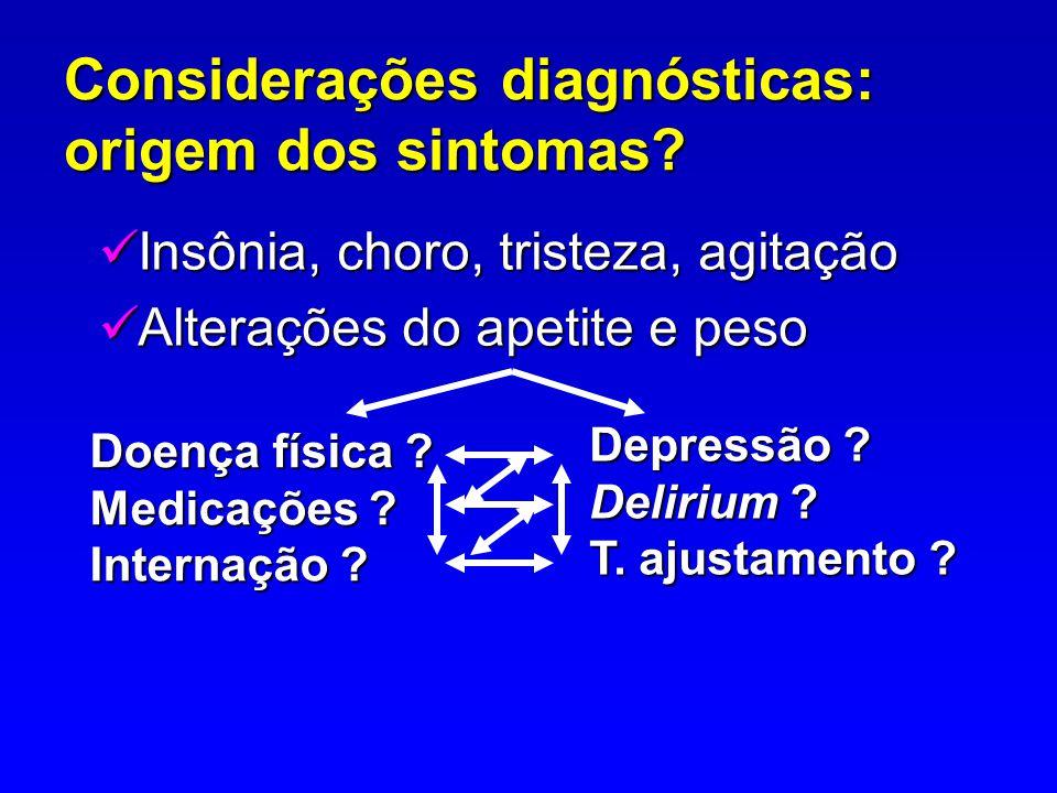 Considerações diagnósticas: origem dos sintomas