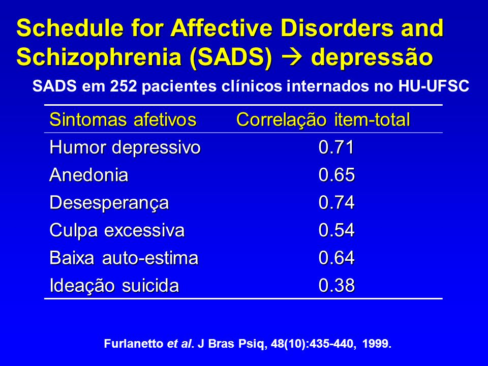 Schedule for Affective Disorders and Schizophrenia (SADS)  depressão