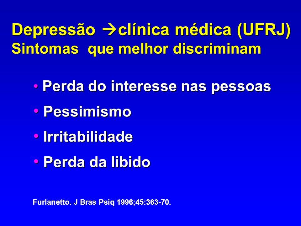 Depressão clínica médica (UFRJ) Sintomas que melhor discriminam