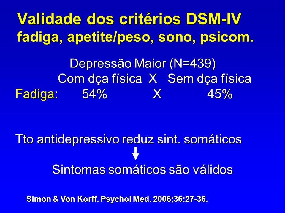 Validade dos critérios DSM-IV fadiga, apetite/peso, sono, psicom.