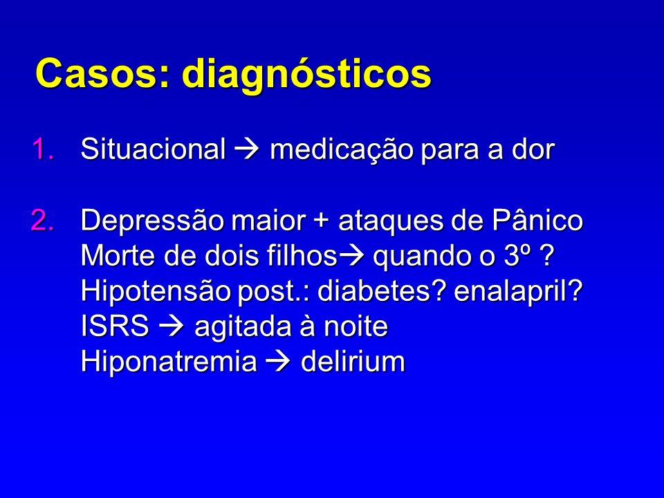 Casos: diagnósticos Situacional  medicação para a dor