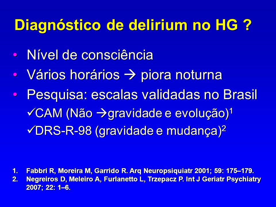 Diagnóstico de delirium no HG