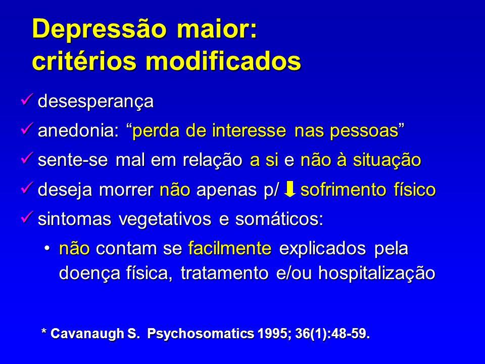 Depressão maior: critérios modificados