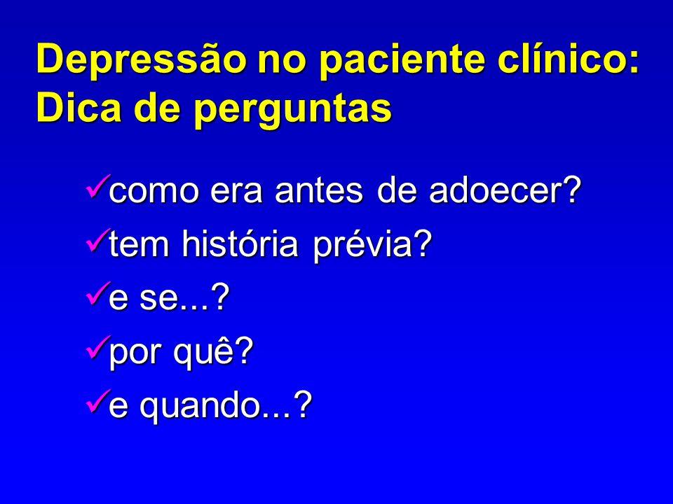 Depressão no paciente clínico: Dica de perguntas