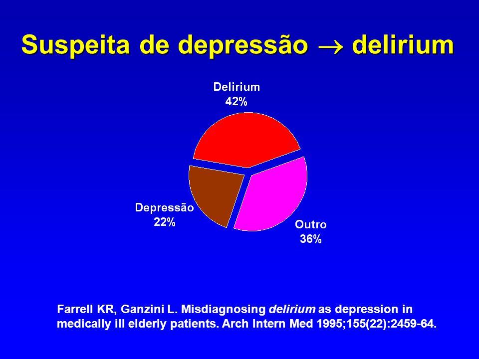 Suspeita de depressão  delirium