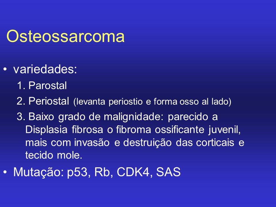 Osteossarcoma variedades: Mutação: p53, Rb, CDK4, SAS 1. Parostal