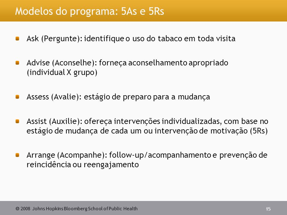 Modelos do programa: 5As e 5Rs
