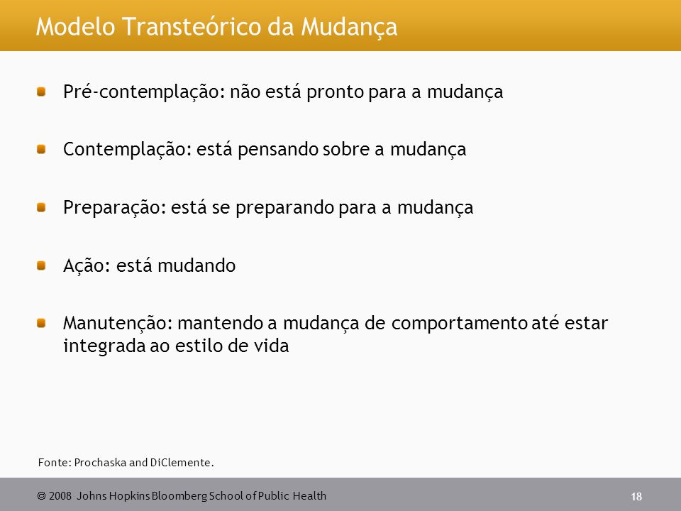 Modelo Transteórico da Mudança