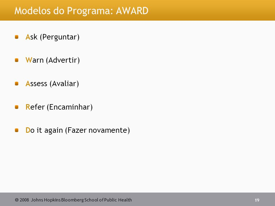 Modelos do Programa: AWARD