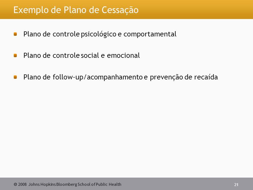 Exemplo de Plano de Cessação