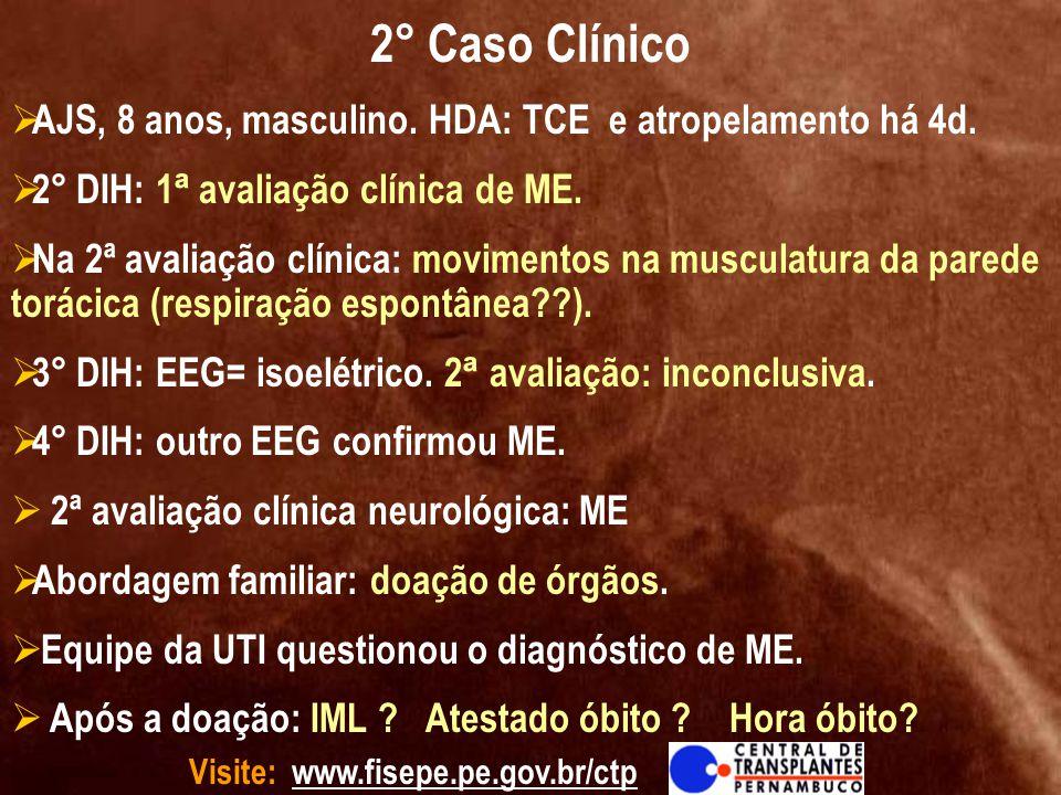 2° Caso Clínico AJS, 8 anos, masculino. HDA: TCE e atropelamento há 4d. 2° DIH: 1ª avaliação clínica de ME.