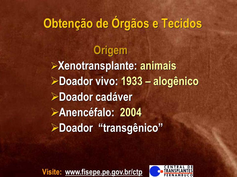 Doador vivo: 1933 – alogênico Doador cadáver Anencéfalo: 2004