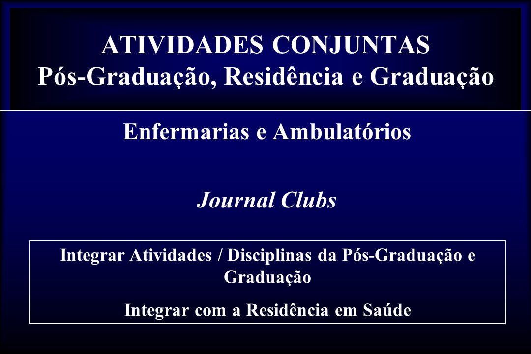 ATIVIDADES CONJUNTAS Pós-Graduação, Residência e Graduação