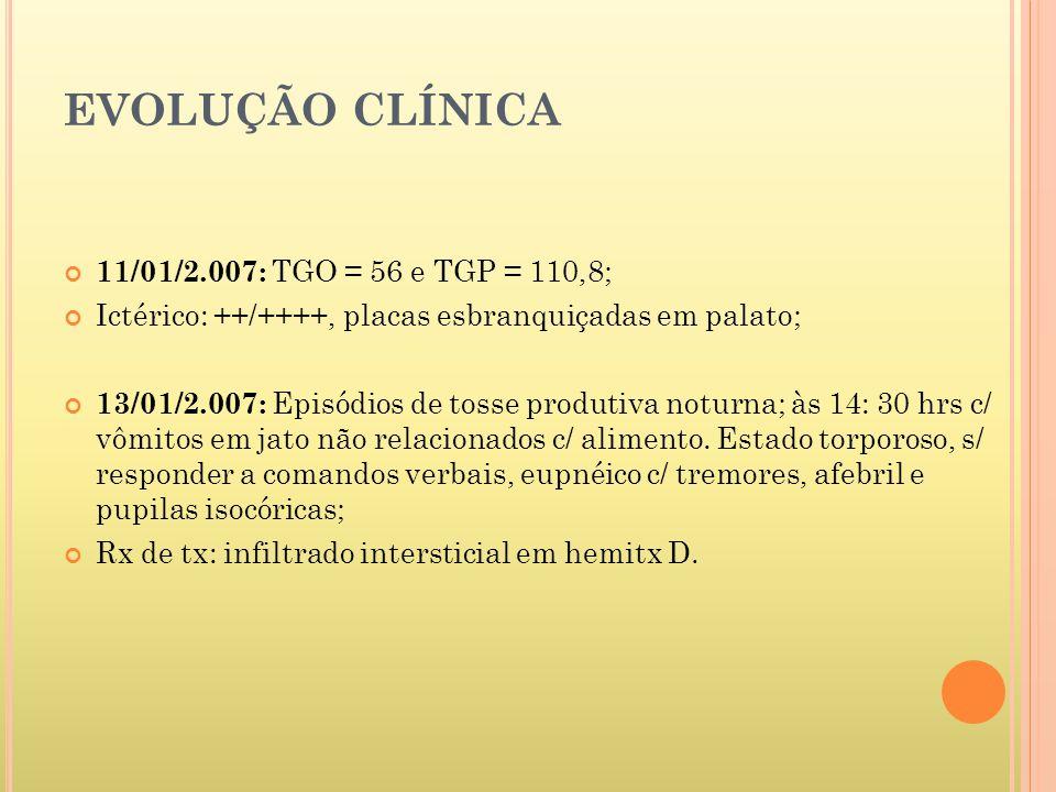 EVOLUÇÃO CLÍNICA 11/01/2.007: TGO = 56 e TGP = 110,8;