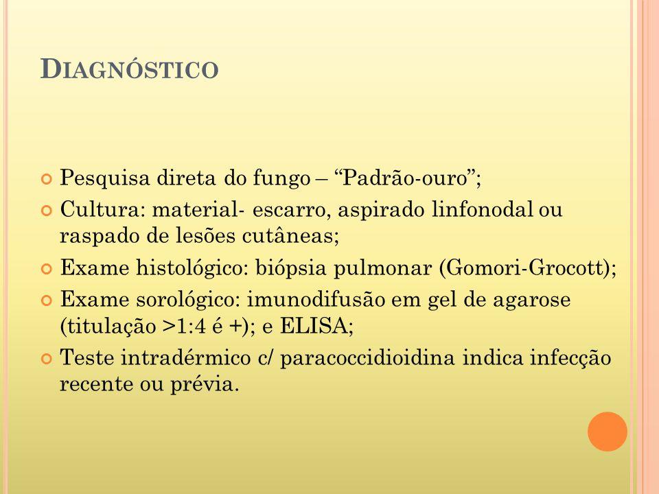 Diagnóstico Pesquisa direta do fungo – Padrão-ouro ;