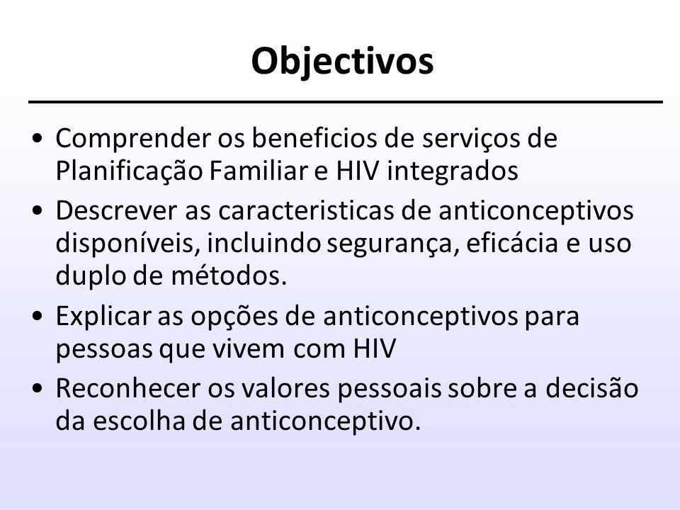 Objectivos Comprender os beneficios de serviços de Planificação Familiar e HIV integrados.