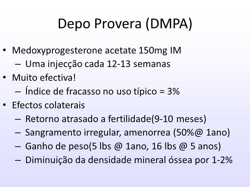 Depo Provera (DMPA) Medoxyprogesterone acetate 150mg IM