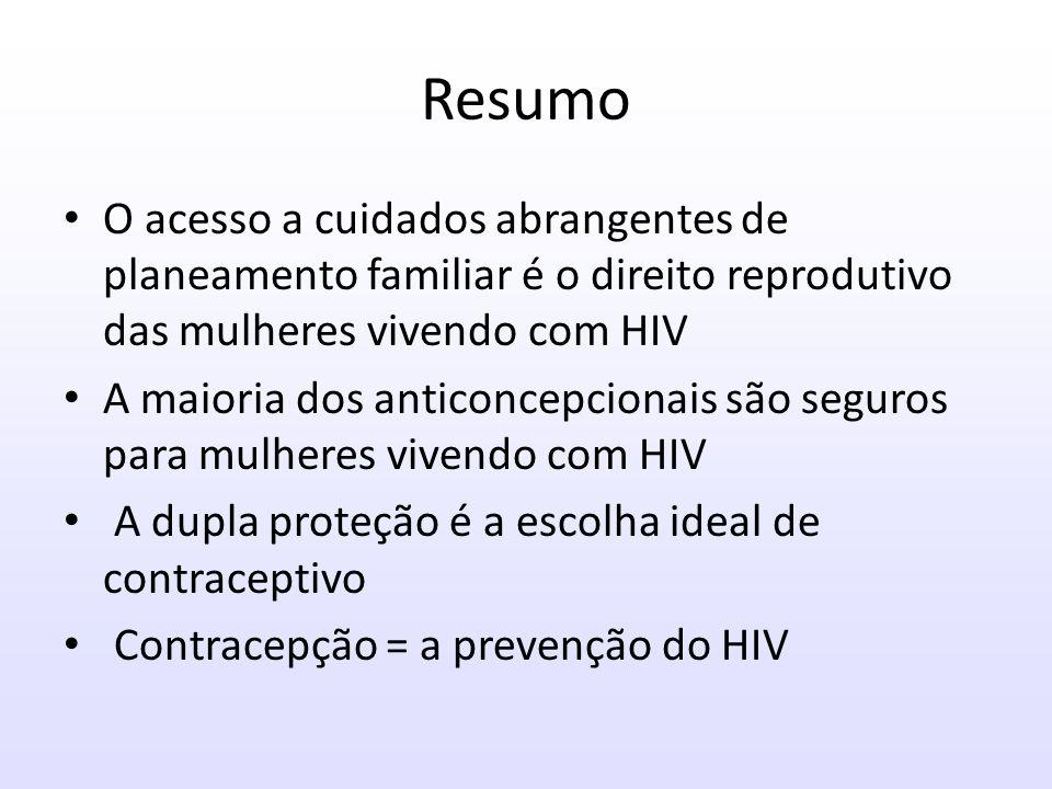 Resumo O acesso a cuidados abrangentes de planeamento familiar é o direito reprodutivo das mulheres vivendo com HIV.