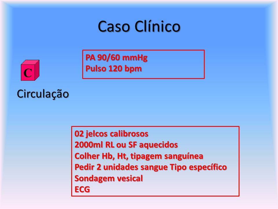 Caso Clínico C Circulação PA 90/60 mmHg Pulso 120 bpm
