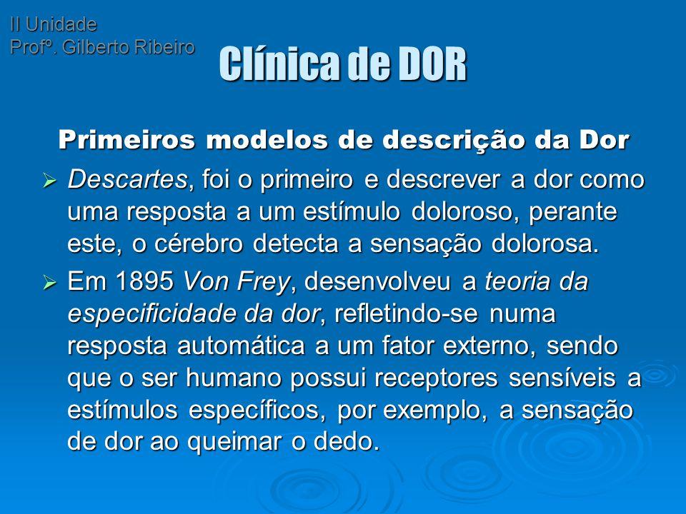 Primeiros modelos de descrição da Dor
