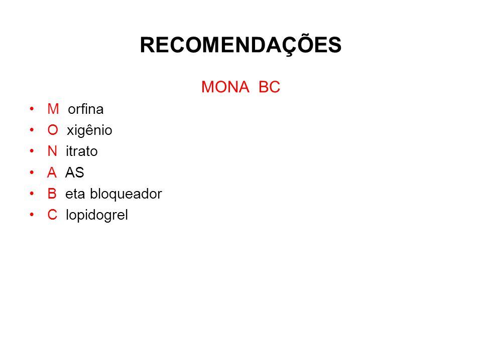 RECOMENDAÇÕES MONA BC M orfina O xigênio N itrato A AS