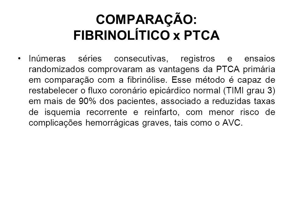 COMPARAÇÃO: FIBRINOLÍTICO x PTCA