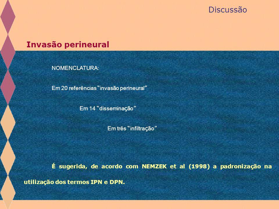 Discussão Invasão perineural NOMENCLATURA: