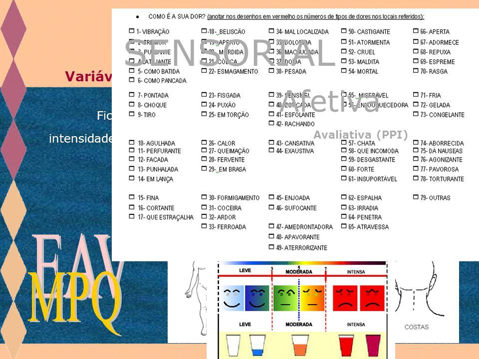 Afetiva SENSORIAL Avaliativa (PPI) EAV MPQ Materiais e métodos