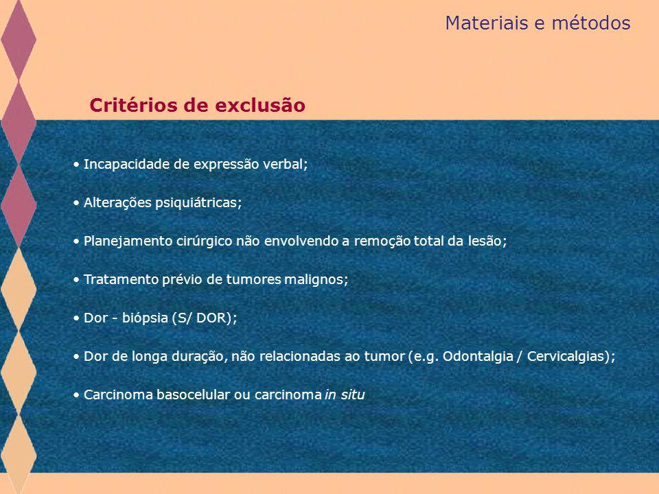 Materiais e métodos Critérios de exclusão