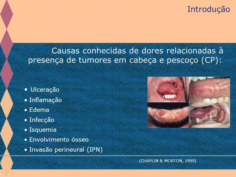 Introdução Causas conhecidas de dores relacionadas à presença de tumores em cabeça e pescoço (CP): Ulceração.