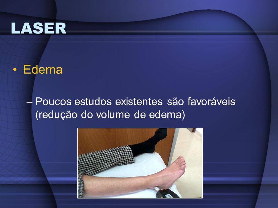 LASER Edema Poucos estudos existentes são favoráveis (redução do volume de edema)