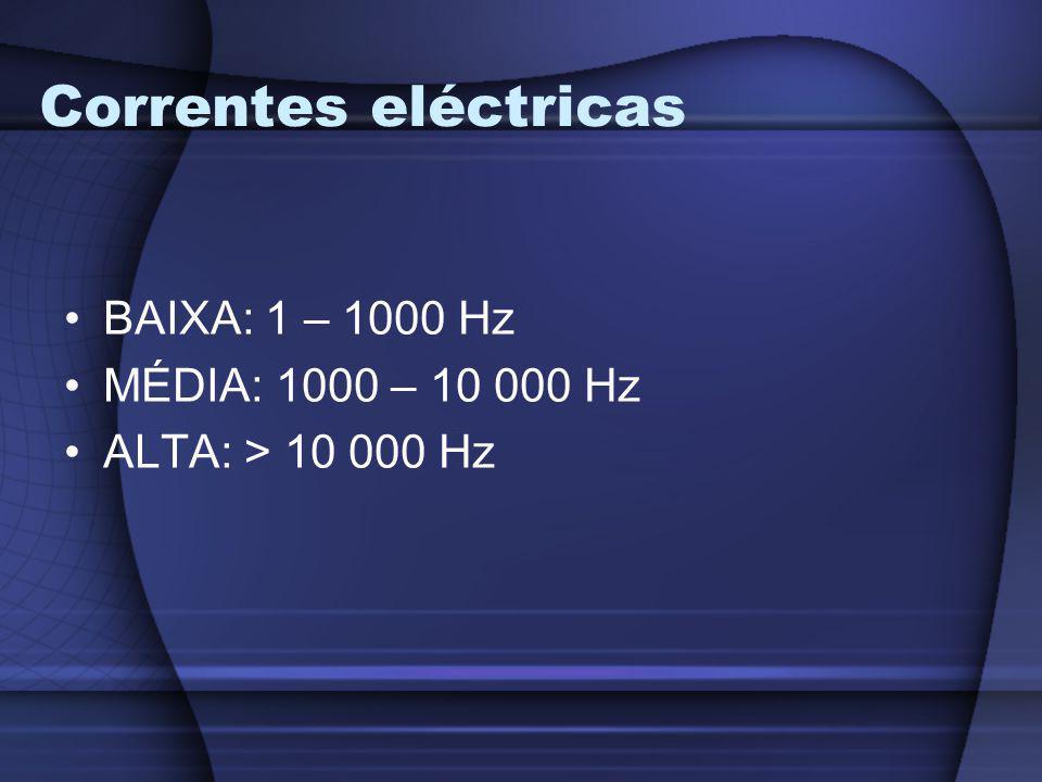Correntes eléctricas BAIXA: 1 – 1000 Hz MÉDIA: 1000 – 10 000 Hz