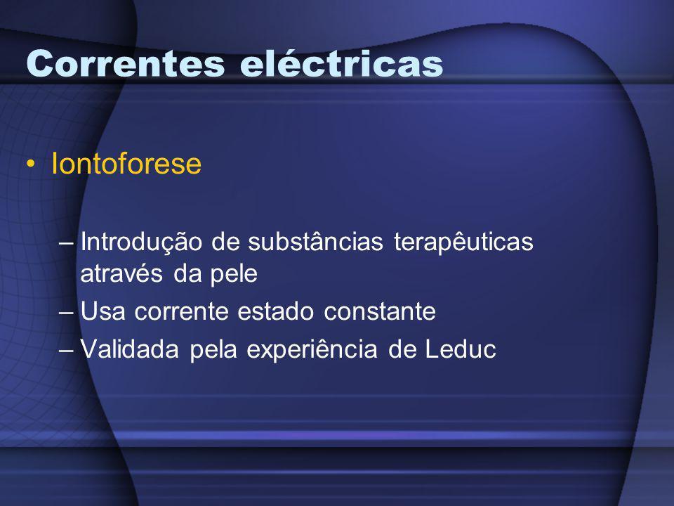Correntes eléctricas Iontoforese