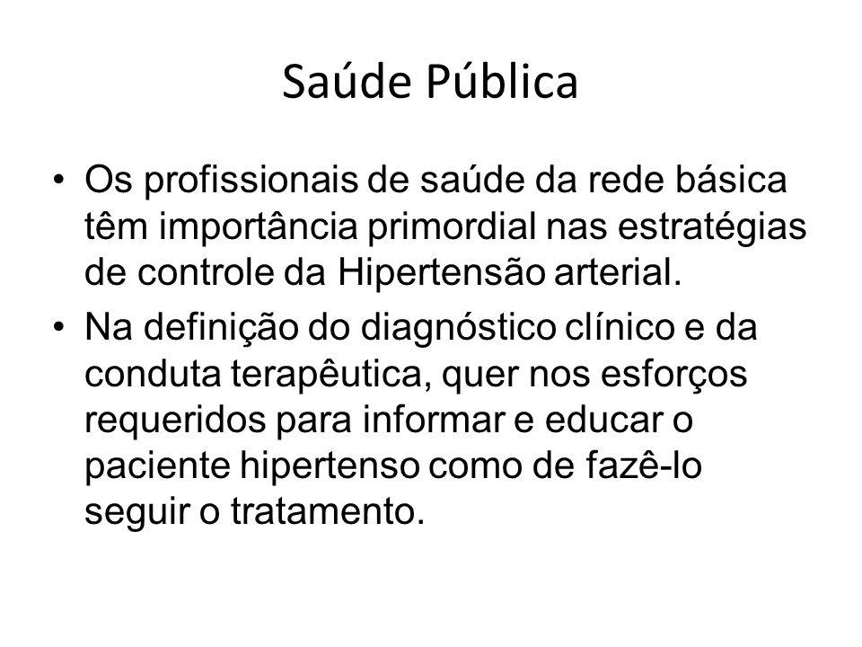 Saúde Pública Os profissionais de saúde da rede básica têm importância primordial nas estratégias de controle da Hipertensão arterial.