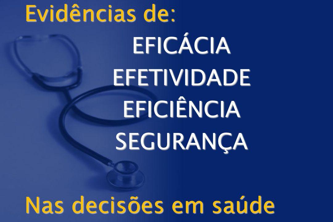 Evidências de: EFICÁCIA EFETIVIDADE EFICIÊNCIA SEGURANÇA Nas decisões em saúde