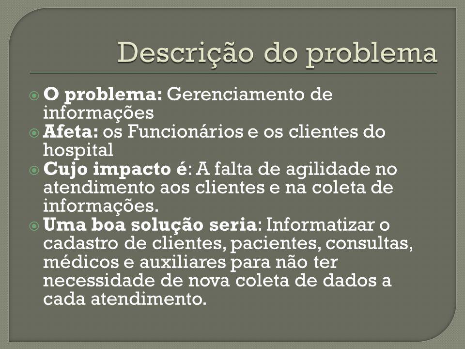 Descrição do problema O problema: Gerenciamento de informações
