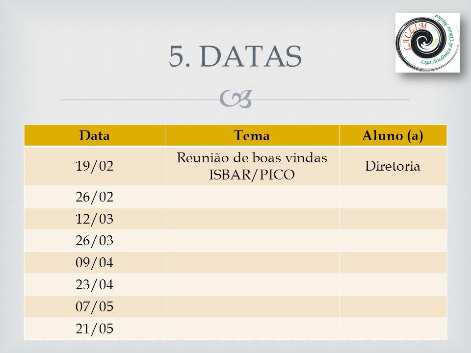 5. DATAS Data Tema Aluno (a) 19/02 Reunião de boas vindas ISBAR/PICO