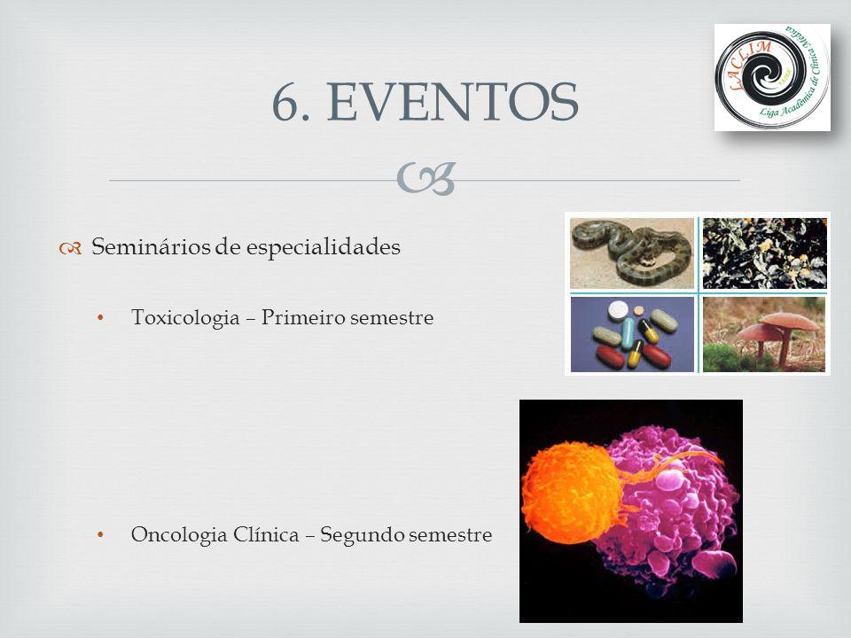 6. EVENTOS Seminários de especialidades