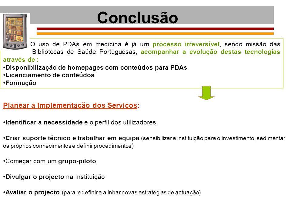 Conclusão Planear a Implementação dos Serviços: