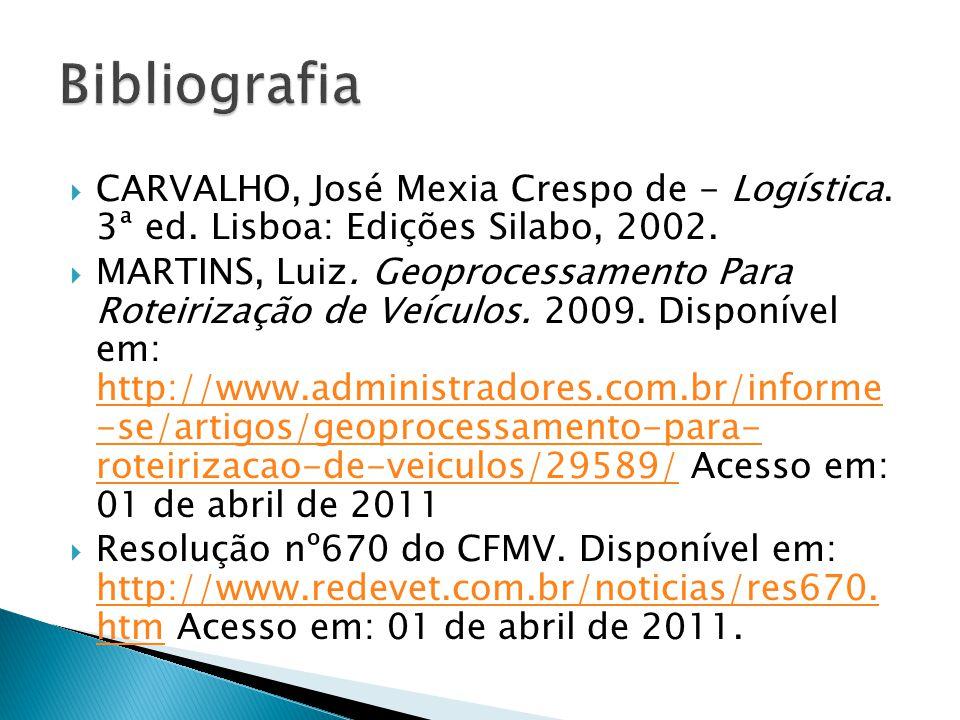 Bibliografia CARVALHO, José Mexia Crespo de - Logística. 3ª ed. Lisboa: Edições Silabo, 2002.