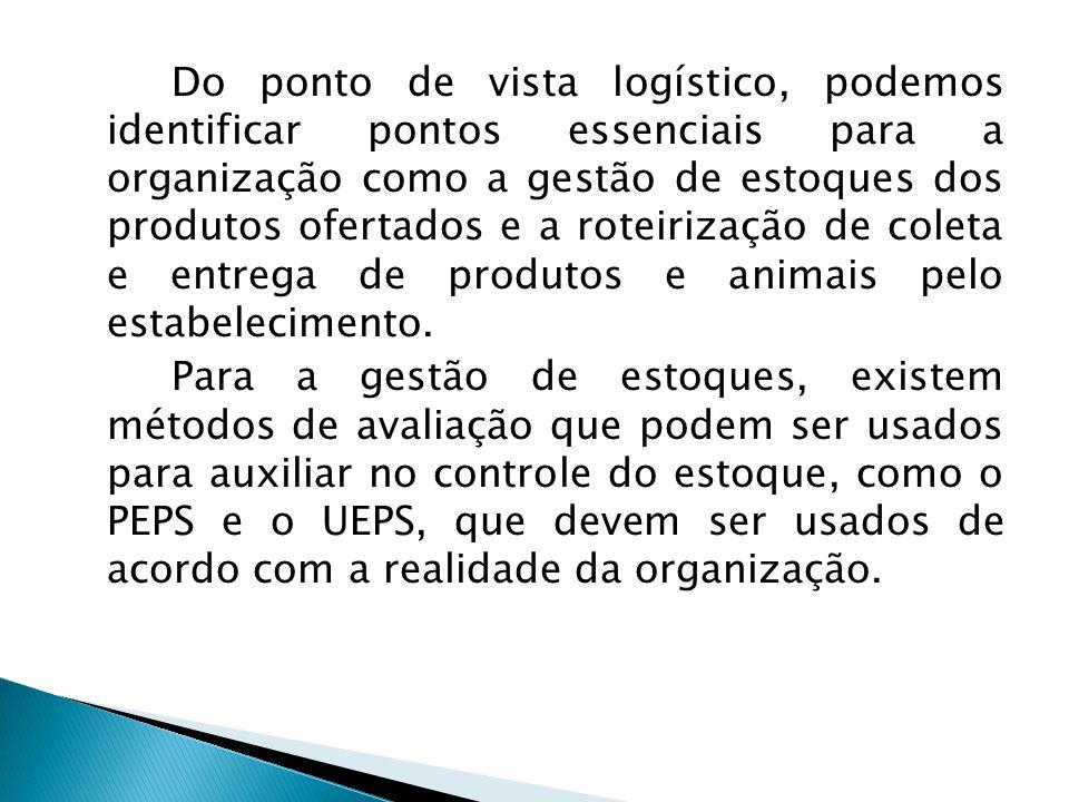 Do ponto de vista logístico, podemos identificar pontos essenciais para a organização como a gestão de estoques dos produtos ofertados e a roteirização de coleta e entrega de produtos e animais pelo estabelecimento.