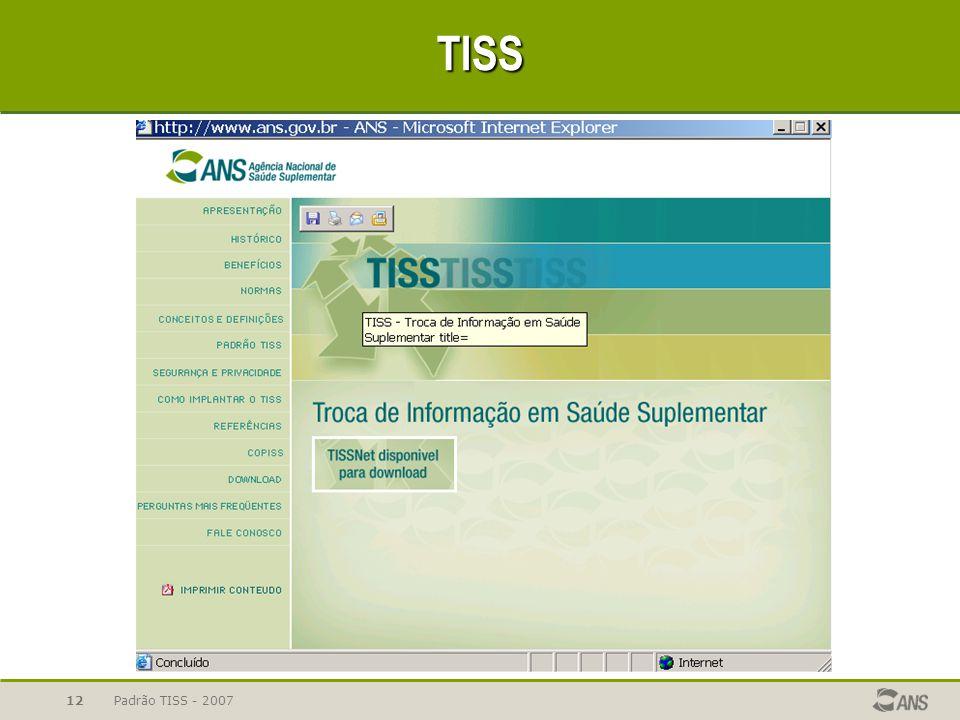 TISS Padrão TISS - 2007