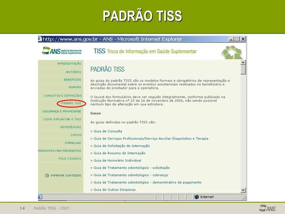 PADRÃO TISS Padrão TISS - 2007