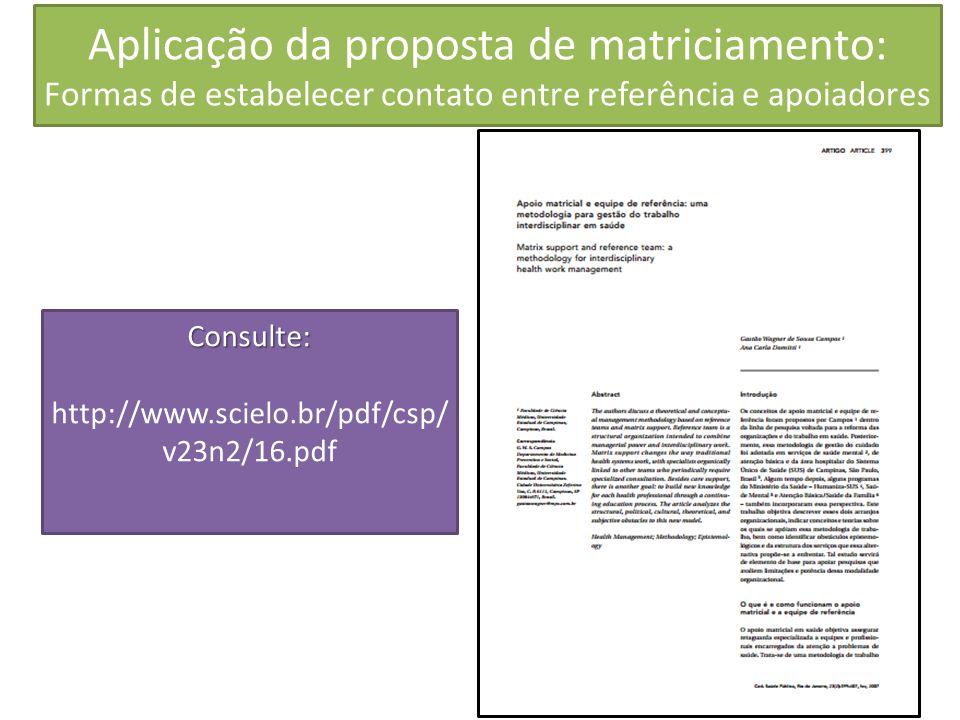 Aplicação da proposta de matriciamento: Formas de estabelecer contato entre referência e apoiadores