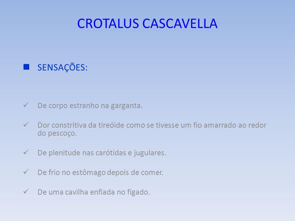 CROTALUS CASCAVELLA SENSAÇÕES: De corpo estranho na garganta.